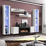 ASM FLY M2 Wohnwand 260 cm breit Push-CLICK Glastüren TV-Ständer Kamin Zwei schwebende Vitrinen Wandregale Hochglanz Weiß