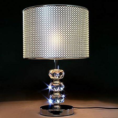 QYRL Lampe De Table, Lampe De Chevet De Chambre À Coucher Moderne, Abat-Jour en PVC Argenté, Support De Lampe en Cristal, Lampe De Bureau Décorative De Salon E27, Interrupteur À Bouton