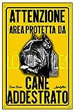 LOVELYTILES Cane Corso ATTENTI al Cane Area PROTETTA Targa Cartello INSEGNA PVC Gialla (15X20)