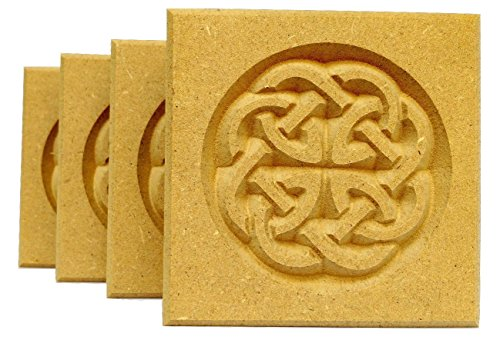 Set of 4: Carved Celtic'Dara' Knot Rosette Blocks, Made in USA (3.5'x3.5' MDF (Paint Grade))