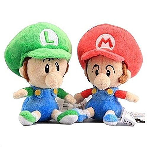 Super Mario Bros Plush 5.6 Inch / 14cm Baby Mario Luigi 2pcs Doll Stuffed Animals Figure Soft Anime Collection Toy