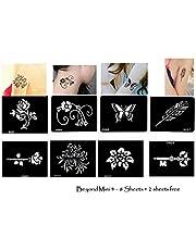 Tattoo sjablonen/sjablonen 8 + 2 kleine vellen voor henna tattoo glitter tattoo air brush tattoo set mini 4