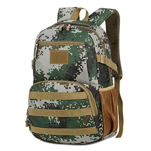 WENTAO Hommes Tactiques Sacs Hommes Sacs De Voyage Ultralight Chasse Gamme Soldat Ultime Stealth Heavy Duty Transporteur Sac À Dos Imperméable avec Patch 28 * 45 * 16 Cm (W * H * D), Junglecamouflage