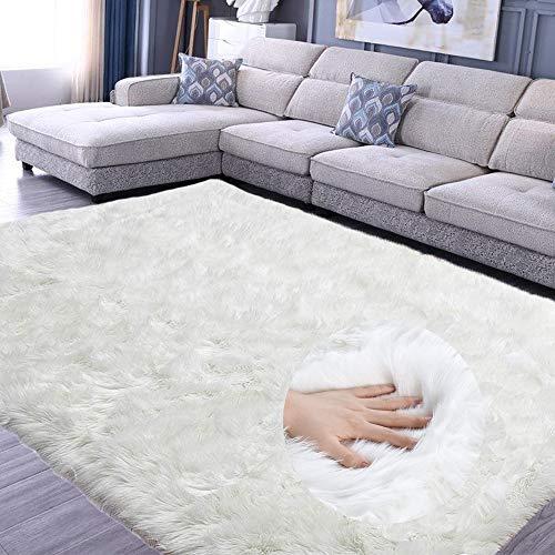 JunYito Teppich Wohnzimmer Hochflor Teppiche Kinderzimmer Flauschig rutschfest Faux Wolle für Schlafzimmer Mädchen Jungen (Weiß, 120 x 180cm)