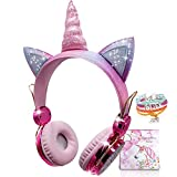 Kids Headphones, Wireless Headphones for Kids Unicorn Headphones for Girls Bluetooth Headphones w/Microphone Adjustable Headband, Over On Ear Headset for School/Kindle/Tablet/PC Online Study