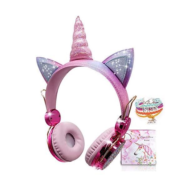 Kids Headphones Wireless Headphones for Kids Unicorn Headphones for Girls Bluetooth...