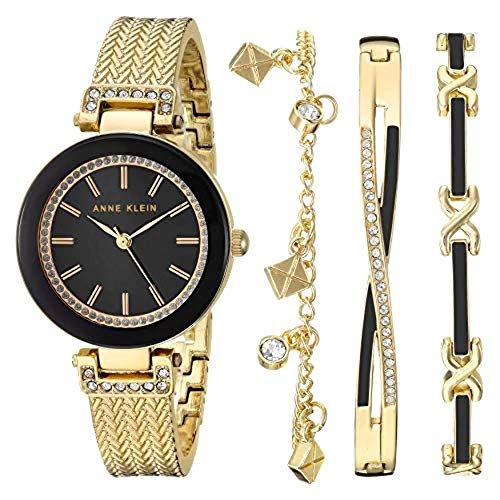 Anne Klein Women's Swarovski Crystal Accented Rose Gold-Tone Textured Bangle Watch and Bracelet Set, AK/3394BKST