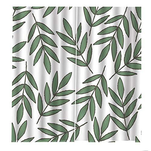 QGWMCD Verdunkelungsvorhänge Ösen Vorhang Weißgrüne Bambusblätter Blickdicht Gardinen Thermovorhang lidchtdicht für Wohnzimmer Schlafzimmer Küche, 140x250cm x2