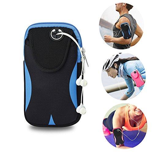Brazalete Deportivo Universal, Móviles Bandas para el Brazo Jogging Gimnasio Deportes Fitness Armband Funda para iPhone X/8/7/6/6S/5S/5C/SE/5 Plus,Samsung Galaxy Huawei HTC etc. (Azul/Negro)