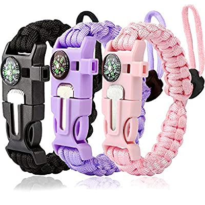 WEREWOLVES Survival Paracord Bracelets,Professional Personal EDC Tactical Bracelet,Multifunction Camping Hiking Gear with Compass, Fire Starter, Whistle and Emergency Knife (Adjustable - Girl)