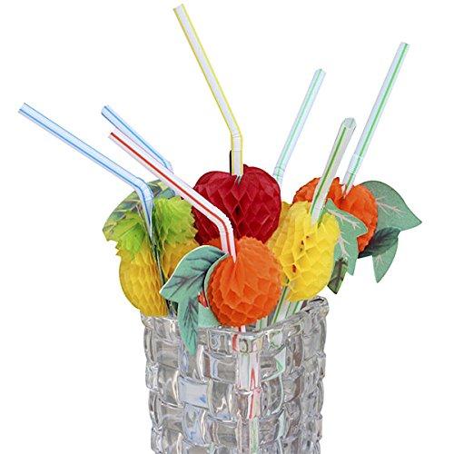 50 pajitas 3D con frutas, para fiestas, bodas, cócteles