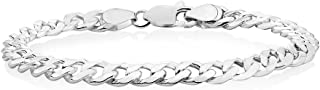 Verona Jewelers Sterling Silver Italian Curb Cuban Link Chain Bracelet for Men 7.5MM, 8MM, 9.2MM, 11MM, 15MM,- 925 Sterling Silver Bracelet for Men, Silver Cuban Link Chain