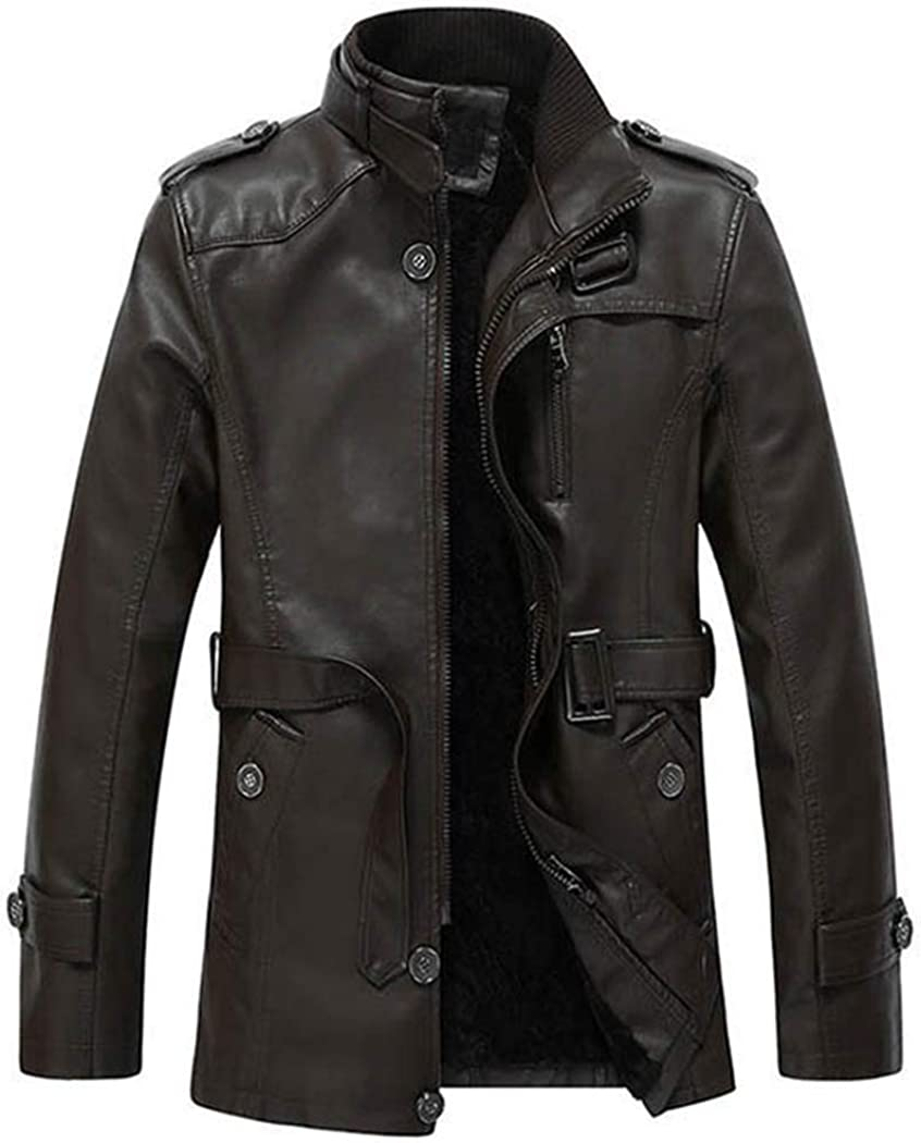 Snowman Lee Mens Aviator Leather Winter Jackets Stand Collar Fleece Lined Warm Outwear