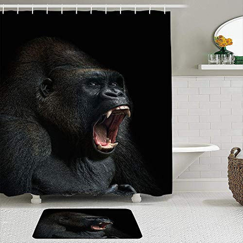 Janrely Fabric Shower Curtain and Mats Set,Animal Monkey Gorilla Silverback Teeth Portrait Close Up Mountain Africa Emotions,Waterproof Bath Curtains with 12 Hooks,Non Slip Rugs