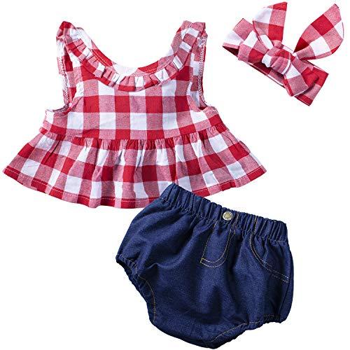 YIJIUJIU - Conjunto de 3 Piezas de Ropa para bebé y niña, Color Rojo - Rojo - 6-12 Meses