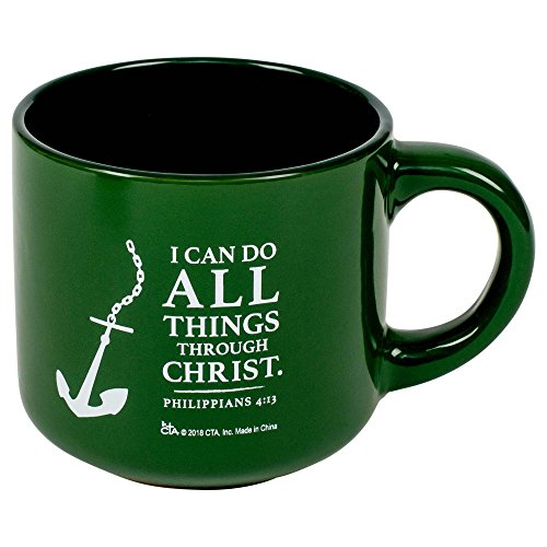 "CTA ""All Things Through Christ"" 14 Ounce Green Ceramic Mug"