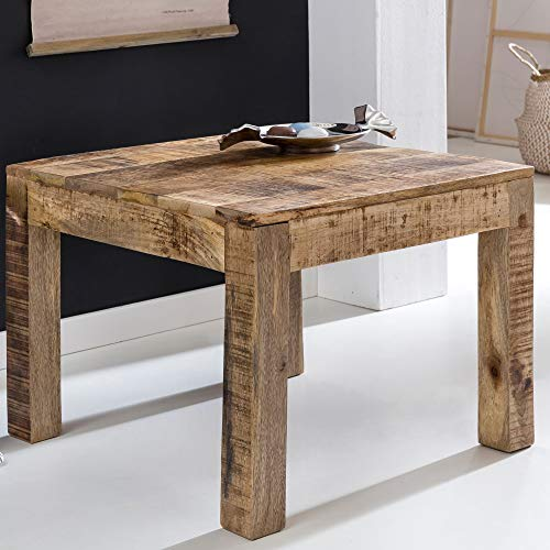 FineBuy Couchtisch RUSTI Massiv-Holz 60 x 60 x 47 cm Beistelltisch Wohnzimmer   Wohnzimmertisch Klein   Ablagetisch Hellbraun Quadratisch   Holztisch Lounge-Tisch   Abstelltisch Mango Naturholz