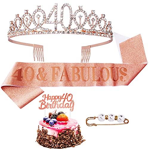 Quazilli 40 Geburtstag Frauen&Happy Birthday Tortendeko-Geburtstagskrone Mädchen&Cake Topper Happy Birthday-Birthday Tiara Krone Damen-Krone Geburtstag (40)