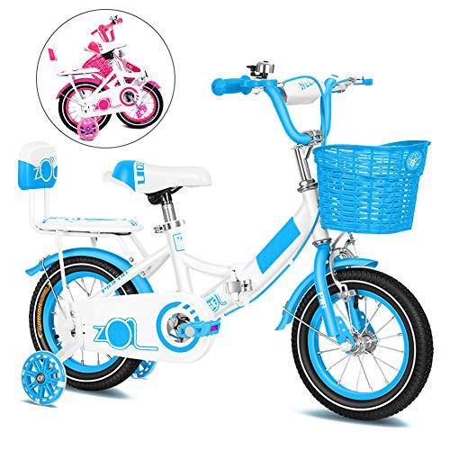 Bici para Niños, Plegable Bicicletas Infantiles, Bike con Frenos y Ruedas de Entrenamiento, 12, 14, 16, 18 Pulgadas/Blue / 18''