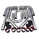 BETTERCLOUD Universal Turbo Intercooler Aluminum Pipe Piping and Silicone Hose...