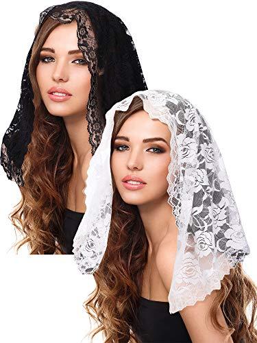 Boao 2 Pieces Floral Lace Veils Head Covering Latin Mass Mantilla Veils Short Scarf for Bridal Women (Color Set 1)