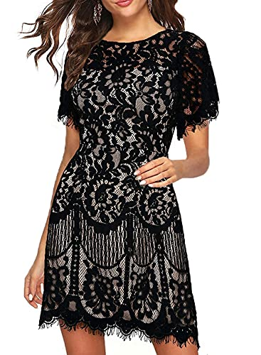 Lace Cocktail Dress for Wedding Women Summer Short V-Back Casual Work Party Aline Juniors Teen Girls Homecoming Dress 910 (Black White, XL)
