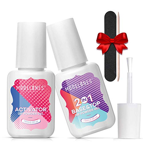 Dipping Powder Top&Base Coat 2in1 with Activator 0.5oz for Dip Powder Nail Kit Dipping Powder Set Contain Nail Accessories Long-lasting and Shinning.
