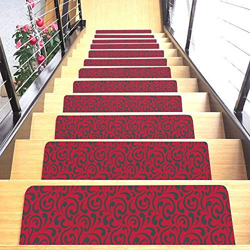 """Set of 7 Stair Treads Ultra-Thin with Non Slip Rubber Backing 9""""x26"""", Red 7 Pieces New York"""