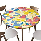 """SfeatrutMAT Indoor Outdoor Polyester Fitted Tablecloth Cover Flannel Backed Lining Stretched to Fits up 45""""-56"""" Diameter Tables Geometric with Triangles Happy Colorful with Triangles and dots Vector"""