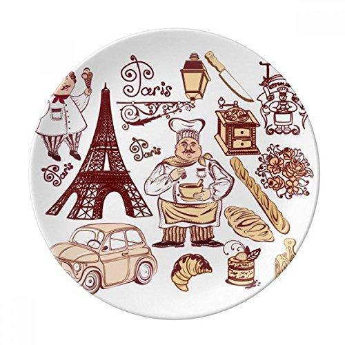 DIYthinker Nourriture Cooker France Tour Eiffel Décorative Porcelaine Assiette à Dessert 8 Pouces Dîner Accueil Cadeau 21cm Diamètre Multicolor