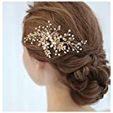 HONEY BEAR donna clip pettine per capelli,gioielli da sposa,accessori per capelli sposa,gioielli a forma di fiore con finte perle e strass (Fiore d'oro)