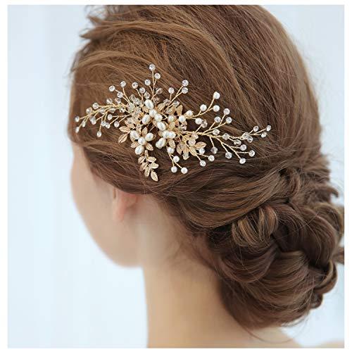 HONEY BEAR Damen Brautschmuck Haare Blume Haarkämme für Hochzeit, Kristall Strass mit Simulierte Perlen Haarschmuck, MEHRWEG (Blume 4)