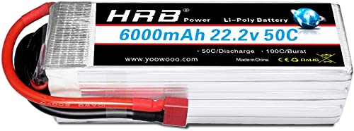 HRB Lipo akku Pack 22.2V 6000mAh 50C 6S RC Batterie für RC Multicopter für FPV Racing Quadcopters Diverse Racing Cars Helikopter Flugzeuge und ModellStiefele (T Stecker)