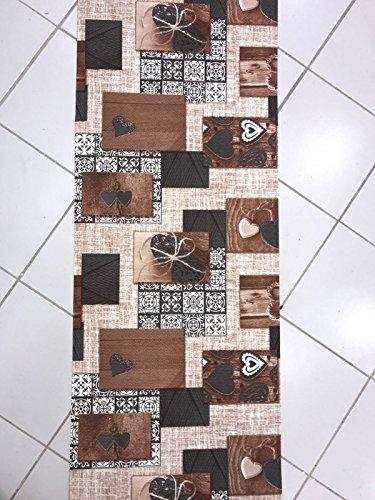 Tappeto Cucina a metraggio PVC Largo 55 Love Nodo Shabby Chic (Beige)