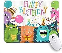 HASENCIV ゲーミング マウスパッド,パーティーコーンの雨と風船の画像と誕生日の小さな赤ちゃんモンスター,マウスパッド レーザー&光学マウス対応 マウスパッド おしゃれ ゲームおよびオフィス用 滑り止め 防水 PC ラップトップ