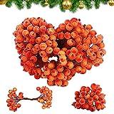 320Pcs Bayas Artificiales Navidad Bayas de Acebo Artificiales y Esmerilado Mini Frutas Artificiales Fruta Helada Mini Flor de Baya Artificial de Navidad para festivales, decoración DIY