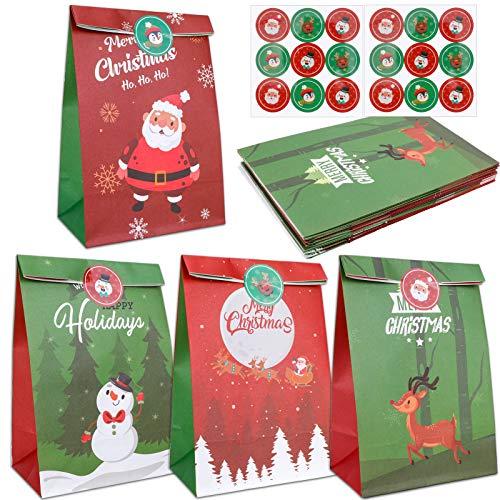 Qpout 12 Stück Weihnachten Geschenktüten, Weihnachten Papier Bonbontüten Set, Weihnachtsmann Elch Schneemann Frohe Weihnachten Geschenkbeutel Kekstasche Mit 24 Aufklebern für Weihnachtsfeier Mitgebsel