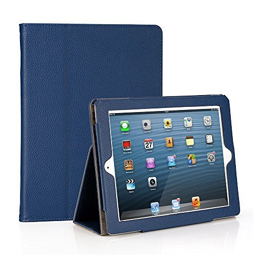 RUBAN iPad 2/3/4 Case Release [Corner Protection] - [Scratch-Resistant] and High-grade PU Leather Folio Stand Smart Cover, Auto Wake/Sleep for Apple iPad 2th/3th/4th Gen with Retina Display, Navy Blue