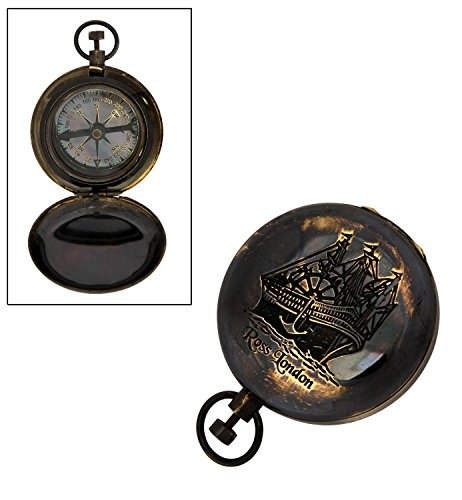 Store Indya Outdoor Camping Hiking Pocket Compass Geometry with Cover Antique Brass (4 X 5 X 3) Collectible Directional Accessory by Store Indya