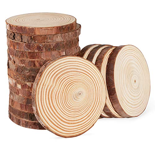 Wood Slices 9-10 cm Log Wooden Circles 28Pcs Natural Unfinished Wood for DIY Crafts Wood Burning Wedding Decorations Christmas Ornaments Coaster Wall Decor