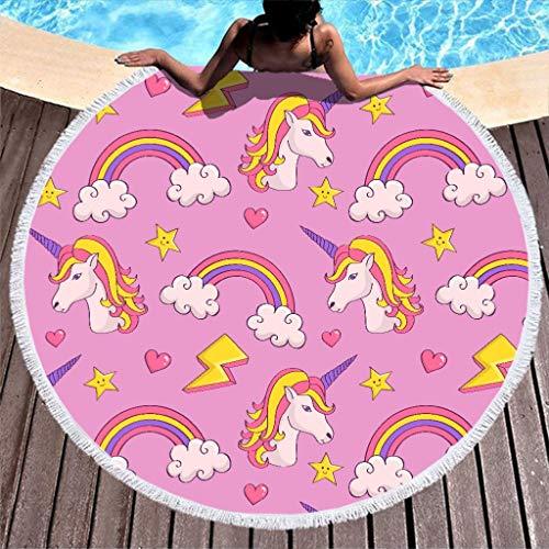 RNGIAN - Toalla de Playa Redonda con diseño de Unicornios de arcoíris, Color Rosa, poliéster, Blanco, 59 Inch
