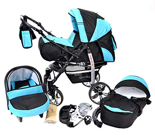 Sportive X2, 3-in-1 Travel System incl. Baby Pram with Swivel Wheels, Car Seat, Pushchair & Accessories (3-in-1 Travel System, Black & Turquise)