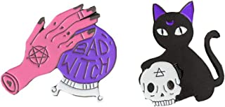 ZOOMY Spilla Halloween Gotico Gioielli Strega Mano Magica Sfera di Cristallo del Cranio del Gatto Spilla Pins 2#