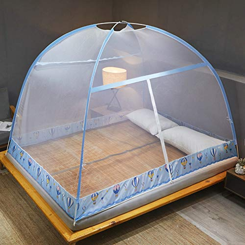 FTFDTMY Pop-Up Mosquito Net Tent Canopy for Beds, Self-Standing Tent for Camping, w/Fully Enclosed Net Bottom, Anti Mosquito Bites, Folding Portable Design for Bedroom Baby Adults Trip,Blue,1.2m