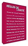 Feel Good Art Règles de l'Amitié Toile sur Cadre Mural de Style Moderne/Typographique Framboise 40 x 30 cm