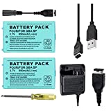 TFSeven 2Pcs Nintendo GBA SP Replacement Battery 850mah 3.7V Rechargeable Lithium Ion + AC Adapter 5.2V 320mA Wall Charger Power Supply for Nintendo GBA Sp Gameboy Anvance Accessories Bundle Kit