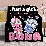 Anime Blanket Plush Ramen Boba Fleece Throw,Kawaii Gift for Girls Kids Women Loves Noodle Bubble Tea Stuffed Super Soft Lightweight Flannel Blankets Cute Food Sheet for Bed Chair-50 x40 for Toddler