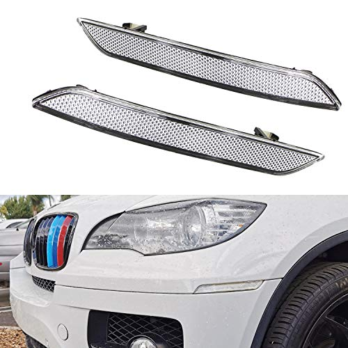 iJDMTOY Euro Clear Lens Front Bumper Side Marker Reflector Lamps Compatible With 2008-2014 BMW E71 X6, 2010-2013 BMW E70 X5M, Replace OEM Amber Sidemarker Lamps