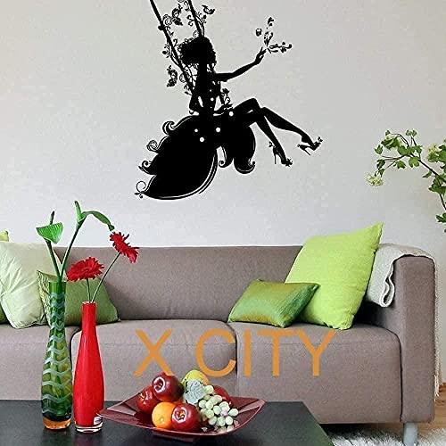 Pegatinas de pared extraíbles sala de estar dormitorio motocicleta dormitorio pegatinas de arte mural cuento de hadas diseño de niña arte habitación de los niños 80x83cm