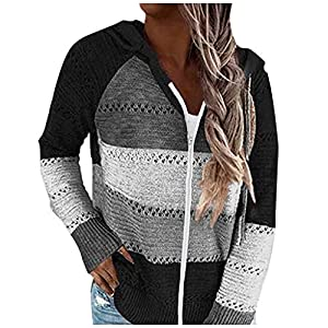 Women's Color Block Hoodie Striped Sweater Lightweight V Neck Knit Pullover Sweatshirts
